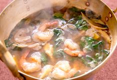Boil of prawn. And vegetables Stock Photography
