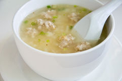 Boil rice with pork. For meal stock images