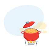 Boil soup in pot Royalty Free Stock Photography