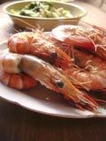 Boil tiger prawns dinner. Close up royalty free stock images