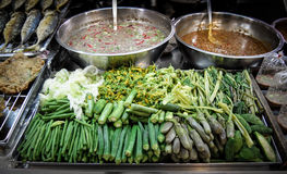 Boil vegetable. Very typical Thai food call Numprig-puktom,good and delicious stock photography