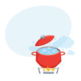 Boil water in pot Stock Photos