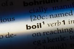 Boil. Word in a dictionary.  concept stock images