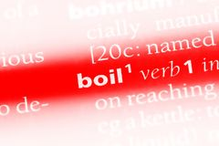 Boil. Word in a dictionary.  concept stock photo