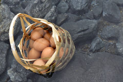 Boil eggs in the bamboo basket at hot spring. Boild eggs in bamboo basket drop it in to hot springs stock images