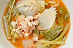 Boiled混合了菜和鱼卵在泰国辣汤在碗 库存照片