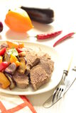 Boiled beef with baked vegetables Royalty Free Stock Images