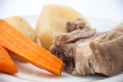 Boiled beef with boiled potatoes and carrots on a plate Royalty Free Stock Image