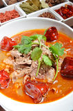 Boiled beef in chili soup Stock Photo