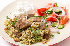 Boiled beef with freekeh cereal Stock Photo