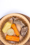 Boiled beef meat with potatoe carrot and onion for soup Royalty Free Stock Images
