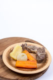 Boiled beef meat with potatoe carrot and onion for soup Stock Images