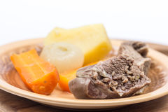 Boiled beef meat with potatoe carrot and onion for soup Royalty Free Stock Image