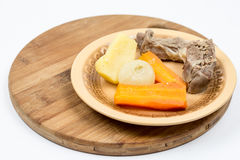 Boiled beef meat with potatoe carrot and onion for soup Royalty Free Stock Photography