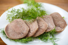 Boiled beef tongue Royalty Free Stock Image