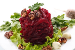 Boiled beet and nuts Stock Photos