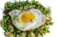 Boiled broad bean with fried egg. And dill Royalty Free Stock Photography