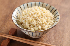 Boiled brown rice. Healthy japanese food Royalty Free Stock Photo