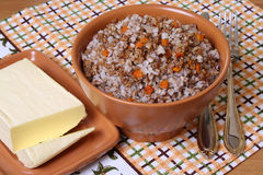 Boiled buckwheat. Hot food; hot meals Royalty Free Stock Images