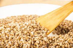 Boiled buckwheat in pan Stock Photography