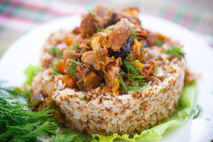 Boiled buckwheat with stewed chicken gizzards royalty free stock photography