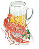 Boiled cancer with a mug of beer. Illustration Royalty Free Stock Image