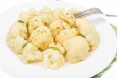 Boiled cauliflower for vegetarian and dietary food. Studio Photo Royalty Free Stock Photos