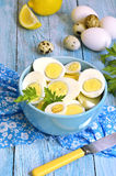 Boiled Chicken And Quail Eggs. Royalty Free Stock Images