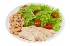 Boiled chicken with beans Royalty Free Stock Images