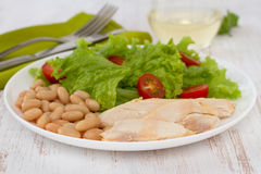 Boiled chicken with beans Stock Image