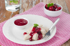 Boiled chicken breast with cranberry sauce closeup horizontal Royalty Free Stock Image