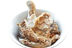 Boiled chicken on a white plate, boiled chicken carcass stock photography