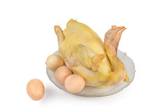 Boiled chicken with egg,  on white background Stock Images