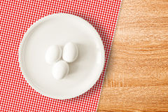Boiled chicken eggs for breakfast Stock Photo