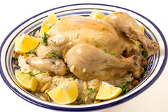 Boiled chicken on pilau rice Royalty Free Stock Image