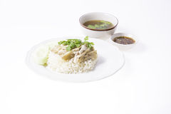 Boiled Chicken on Rice Royalty Free Stock Photography