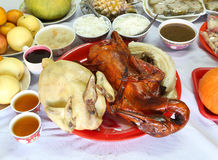 Boiled chicken and Stewed duck and various food for Chinese New Royalty Free Stock Photo