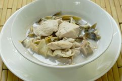 Boiled Chicken With Slice Banana Blossom In Coconut Milk Soup On Bowl Stock Photo