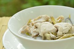 Boiled Chicken With Slice Banana Blossom In Coconut Milk Soup On Bowl Royalty Free Stock Photography