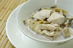 Boiled Chicken With Slice Banana Blossom In Coconut Milk Soup On Bowl Stock Photos