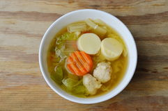 Boiled Chinese cabbage with egg tofu and minced pork soup Royalty Free Stock Photography
