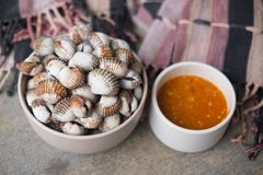 Boiled cockles with tasty sauce. In white bowl Royalty Free Stock Images