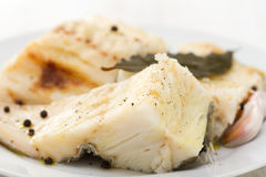 Boiled cod fish with black pepper Stock Image