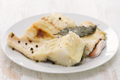 Boiled cod fish with black pepper Royalty Free Stock Photography
