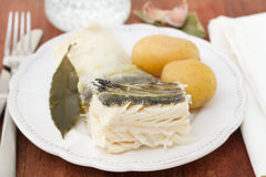 Boiled cod fish with potato Stock Photos