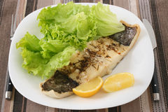 Boiled codfish with lemon Royalty Free Stock Image