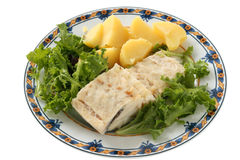 Boiled codfish with lettuce and potato Stock Images