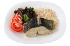 Boiled codfish with rice Royalty Free Stock Photo