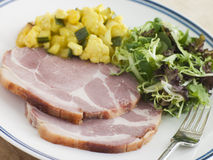 Boiled Collar of Bacon with Piccalilli and Salad Royalty Free Stock Photography