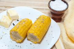 Boiled corn with butter and salt Stock Photos